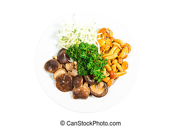 Marinated mushrooms with herbs and onions on a white plate