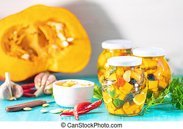 Marinated preserving jars. Fermented food - Marinated...
