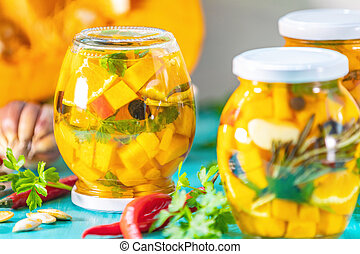 Homemade orange cut pumpkin pickles - Marinated preserving...