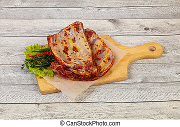Raw pork ribs for grill