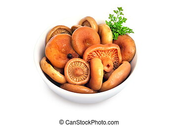 Marinated saffron milk cap mushrooms in a bowl