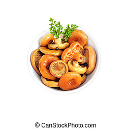 Marinated saffron milk cap mushrooms in a white bowl isolated on white background with clipping path