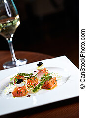 Marinated scottish salmon with wine