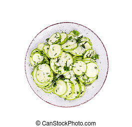 Marinated slices of zucchini with garlic and herbs