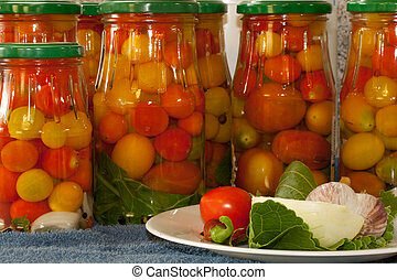 marinated tomatoes in the bank with spices