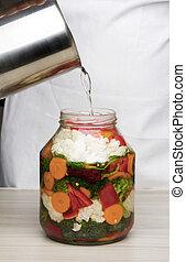 Marinating vegetables in glass jar - Pickling cauliflower...