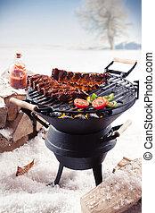 marinato, barbecue, costole, cottura, inverno