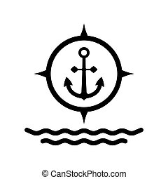 Marine anchor icon, nautical