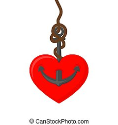 Marine anchor with heart. Vector illustration