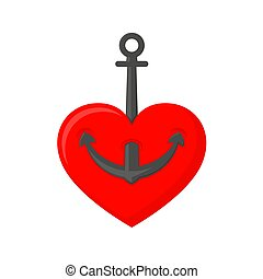 Marine anchor with heart. Vector illustration