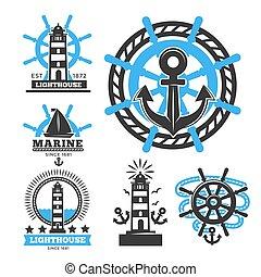 Marine and nautical logo templates or heraldic symbols....