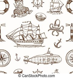 Marine and nautical or sea, ocean emblems. seamless pattern...