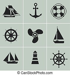 Marine and shipping icons. Boat, ship or yacht, anchor life buoy vector silhouette signs