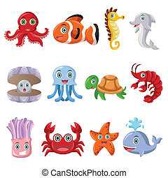 Marine animal icons - A vector illustration of marine animal...