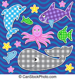 Set of cute colorful marine animals. Vector stickers.