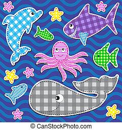 Marine animals - Set of cute colorful marine animals. Vector...
