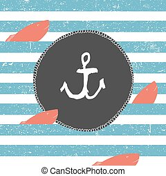 Marine background. Blue lines pattern. Red fish. Nautical card design label with anchor symbol