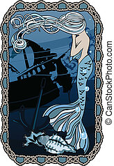 Marine background, postcard with frame of knots, mermaid...