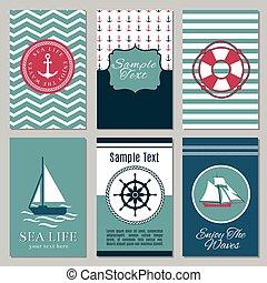 Marine banners or summer nautical invitation cards design vector illustration