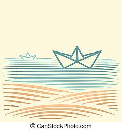 marine, bateau papier