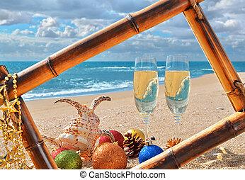 marine, cadre, plage, bambou, noël