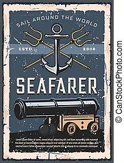 Marine cannon, crossed tridents seafarer artillery - ...