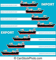 Marine cargo ship bound for export and import goods