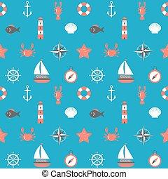 Marine cartoon seamless pattern. Nautical background. Sea theme