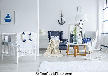 Marine child's bedroom with crib