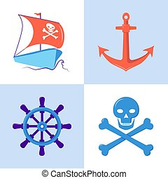Marine collection of pirate and nautical icons in flat style