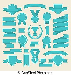 Marine color ribbons,medal,award ,cup set .Vector.Banner web