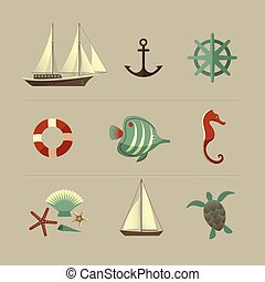 Marine Colored Icons Set