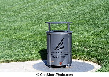 Marine Corp Emblem Garbage Can - Fantastic image of the...