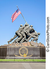 WASHINGTON DC - CIRCA MAY 2013: The Marine Corps War Memorial circa May 2013 in Wash DC, USA. Also called the Iwo Jima Memorial is dedicated to all personnel of United States Marine Corps who have died in defense of their country since 1775.
