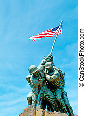 Marine Corps War Memorial under a blue sky
