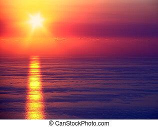 marine, coucher soleil