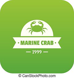 Marine crab icon green vector