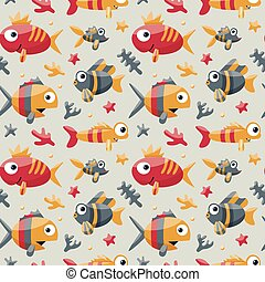 Marine cute seamless pattern with fishes, algae, starfish, coral, seabed, bubble for kids
