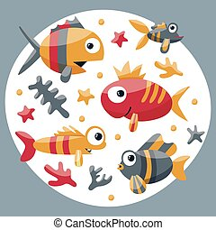 Marine cute set with fishes, algae, starfish, coral, seabed, bubble for kids