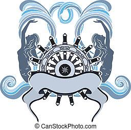 Marine design, emblem, wheel and mermaid on waves