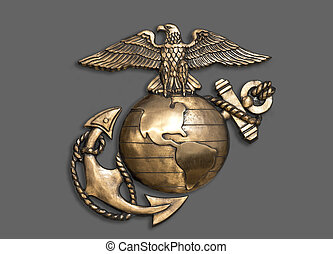 Marine eagle, globe and anchor brass emblem.