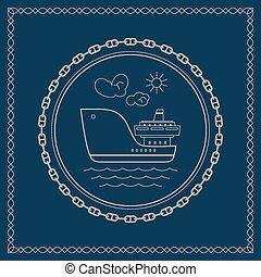 Marine emblem with cargo ship