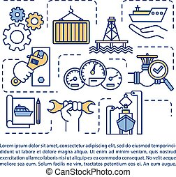 Marine engineering concept icon with text. Cargo ship. ...