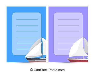 Marine explore tour card with sailboats