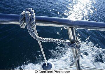 Marine fender knot around boat lee - Nautical marine fender ...