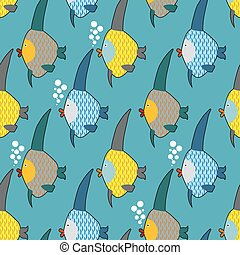 Marine fish color seamless pattern. Repeating pattern of marine life. Cute funny fish texture for childrens fabrics