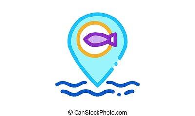 marine fish location Icon Animation. color marine fish location animated icon on white background
