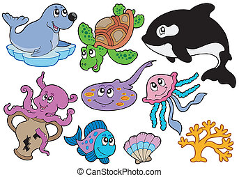 Marine fishes and animals collection - vector illustration.