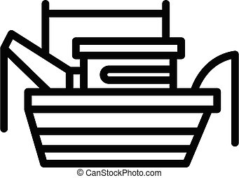 Marine fishing boat icon, outline style