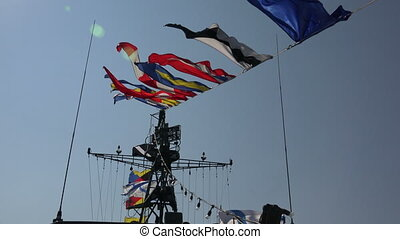 Marine flags on a rope. 4K.
